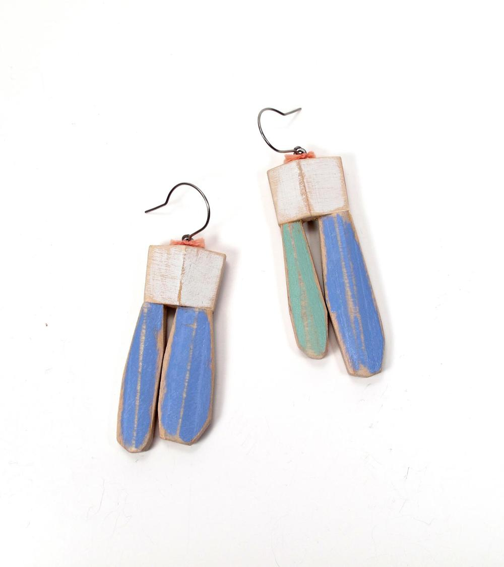 E8 Fiala, Anne (AMF8) white square on hook, 2 dangles on each, blue & green, wood, acrylic, steel embroidery floss.jpg