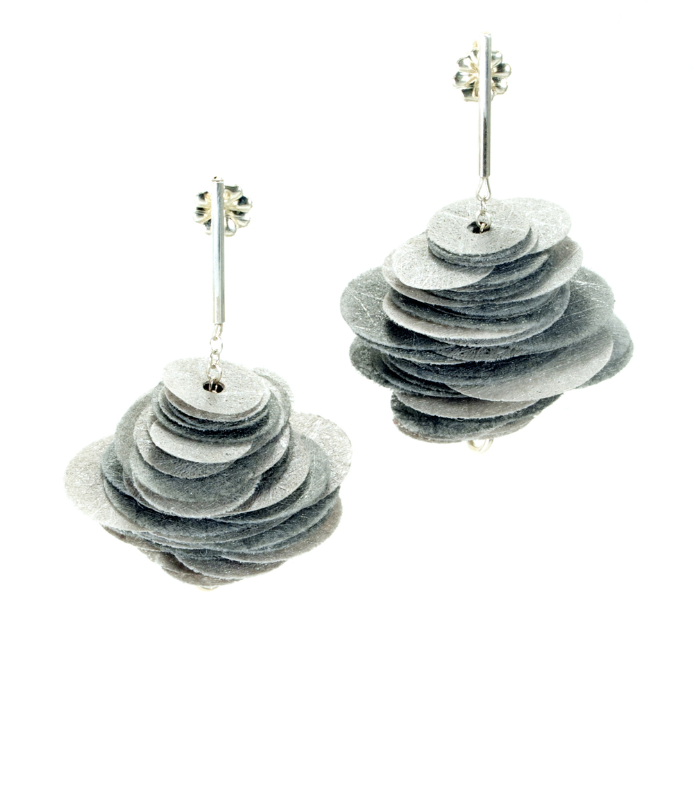 E4 Kresse, Alice (grey) stack of grey handpainted polyester discs, sterling silver.jpg