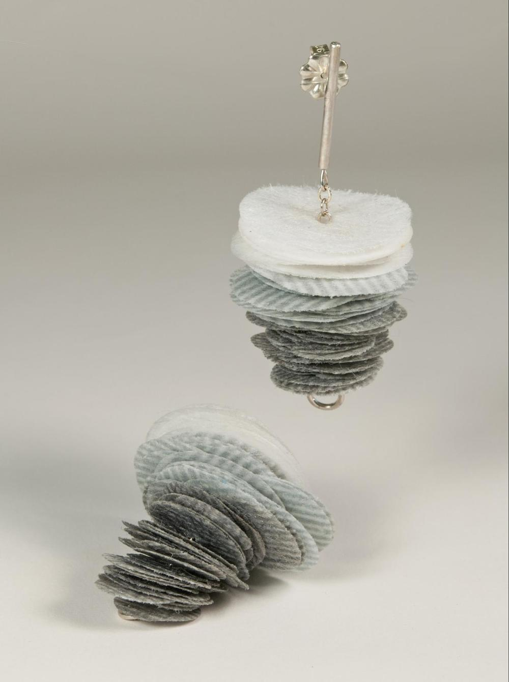 E6 Kresse, Alice (grey inkjet) stack of grey inkjet printed polyester discs, sterling silver.jpg