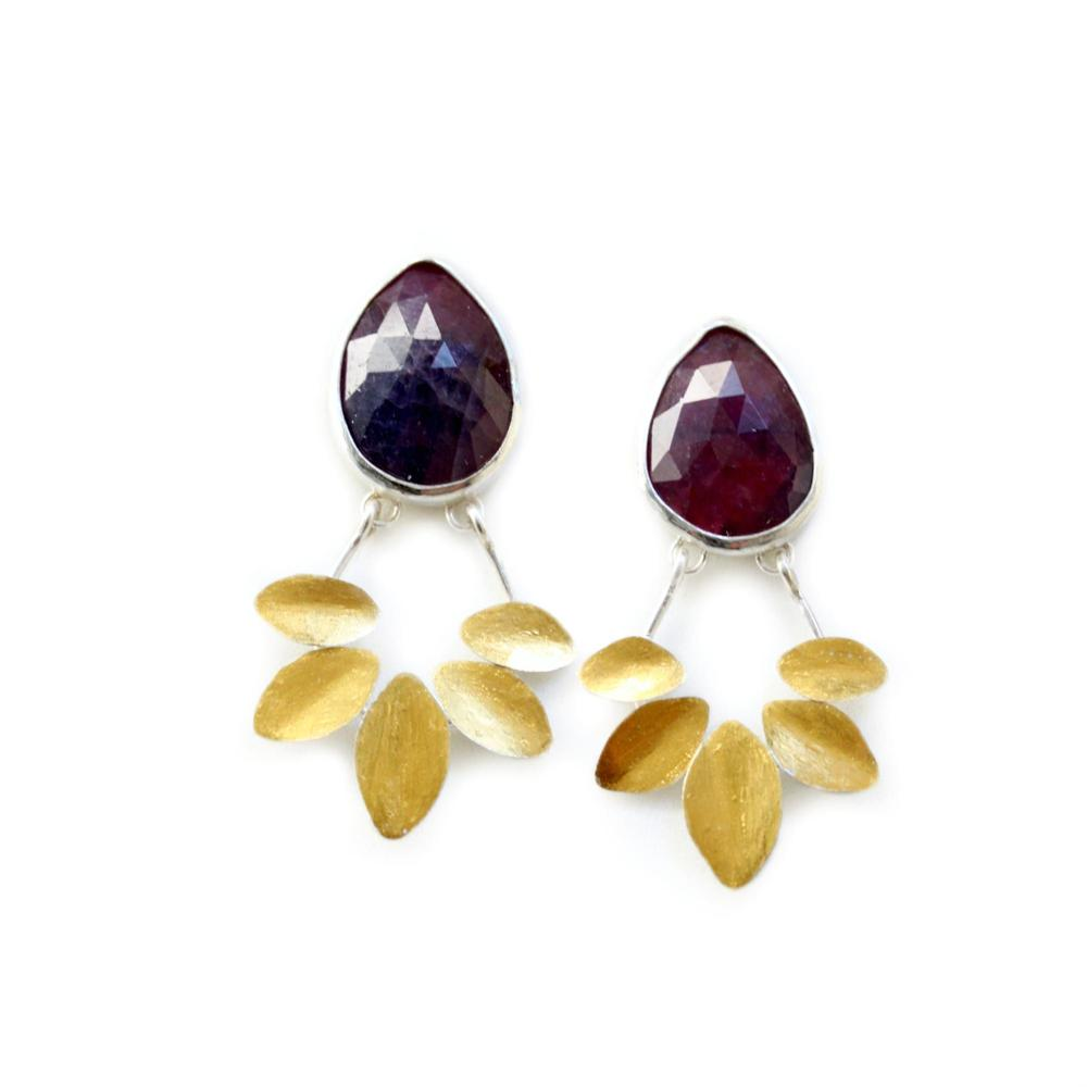 E4 Lime, Katie purple sapphire studs with 24 kt gold petals.jpg