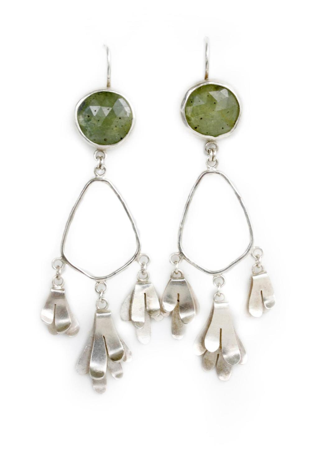 E9 Lime, Katie yellow rose cut sapphires, silver lichen hanging from each, dangles.jpg