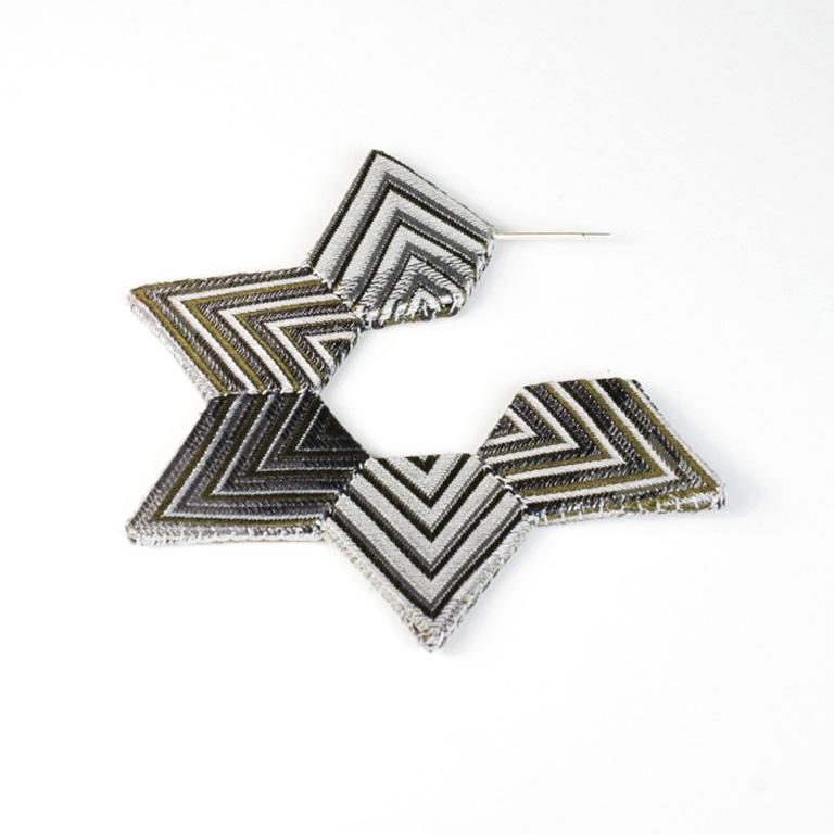E5 Perrone, Louise light grey, dark grey & green silk from a necktie, styrene, thread & silver.jpg