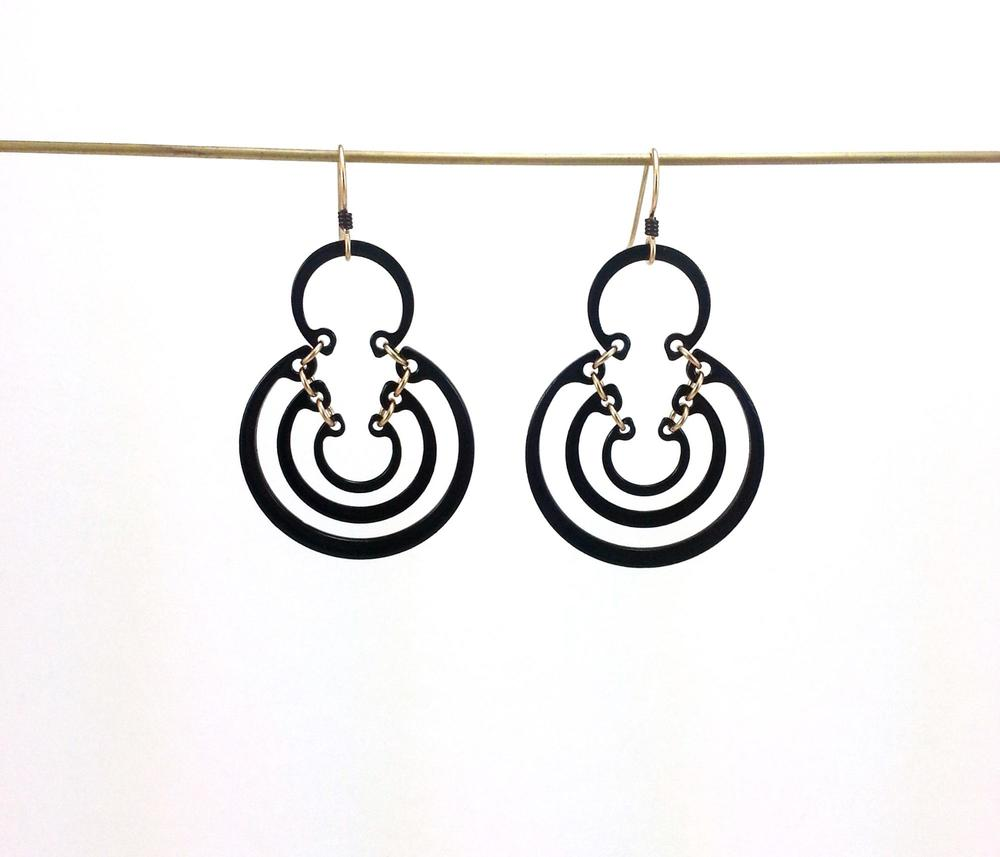 E1 Romano, Kristal large 4 ring earring, steel with black enamel, 14kt gold filled jump rings.jpg