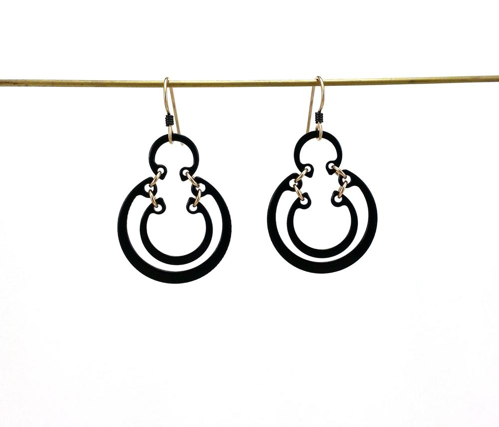 E2 Romano, Kristal 3 ring small earring, steel with black enamel finish, 14kt gold filled jump rings .jpg