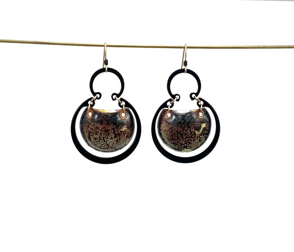 E3 Romano, Kristal large steel with enamel finish, liquid enamel on copper in center, 14 kt filled jump rings.jpg