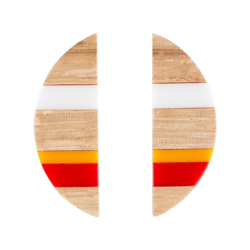 E1 Taylor, Kate half circle of wood with red, yellow & orange.jpg
