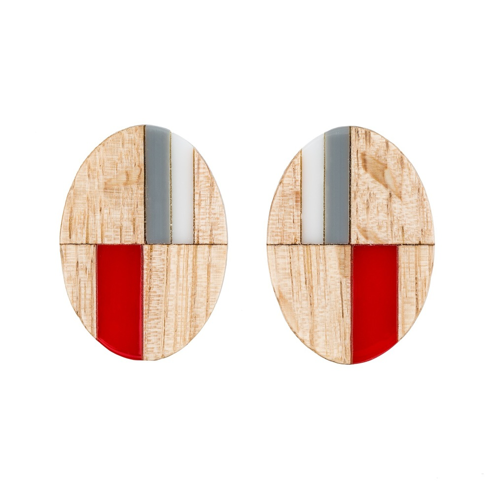 E4 Taylor, Kate wooden oval with gray, red & white.jpg