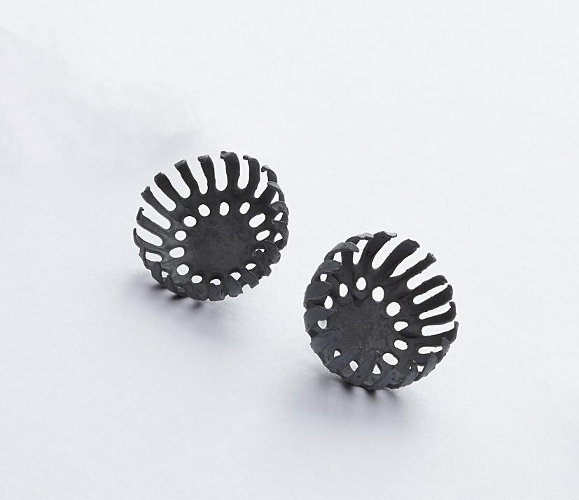 E1 Vlahos, Anna black floret earrings on post, small round.jpg