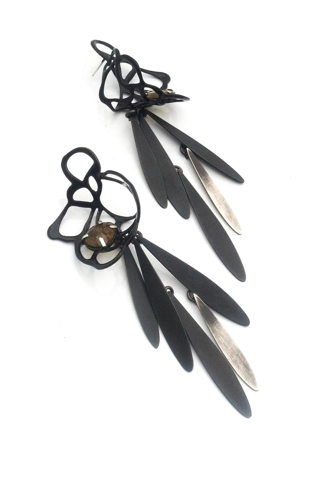 E8 Wood, Laura giant black lace stud with steel fringe and tourmaline, brass, powdercoat.jpg