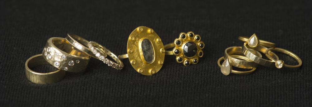 Rings made by Heidi Lowe