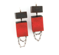 E2 Cole, Kat small steel rectangle on hook, steel red square with chain hanging at bottom.png