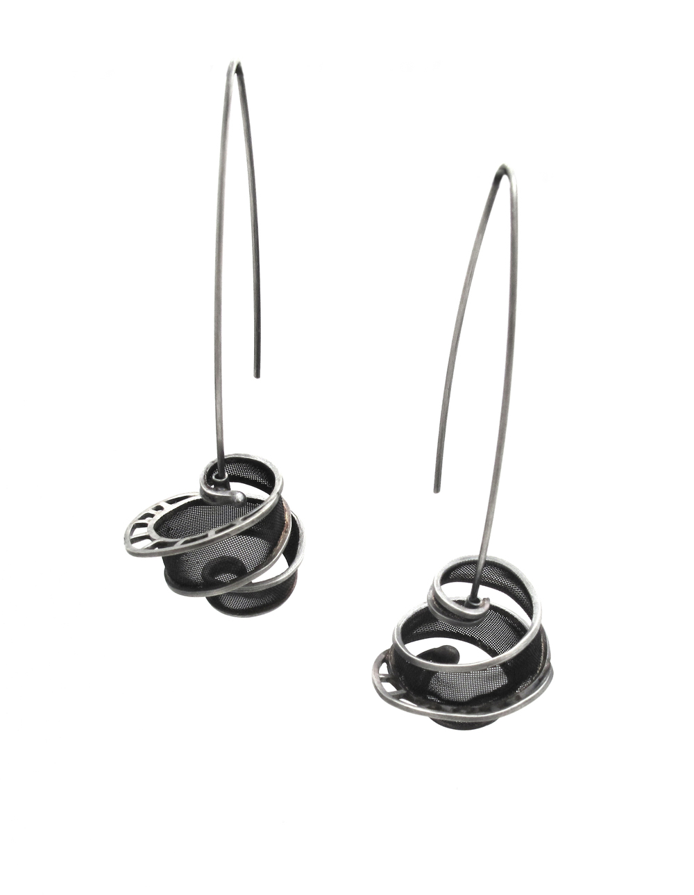 E5 Sellers, Caitie ball earrings on long wires silver and copper.jpg