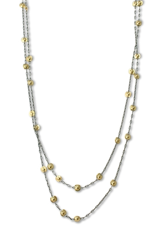 N4 Roche, Alice oxidized silver chain with 50 gold %22kisses%22 (N515gf).jpg