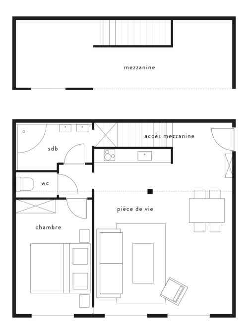 Plan appartement t2 45m2 for Appartement 45m2 design