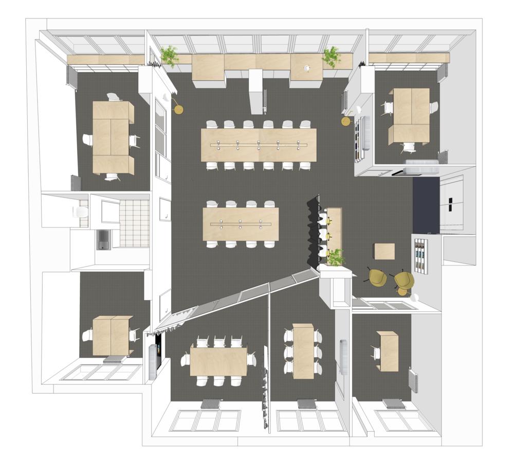 3D réalisée par l'Atelier DiTo représentant la répartition des espaces