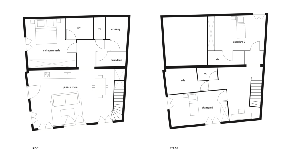 Plan de projection en T4 avec un étage