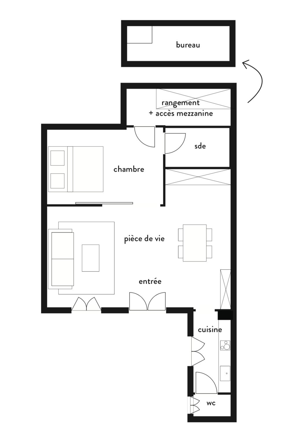 3/Plan de projection en T1 avec chambre en second jour
