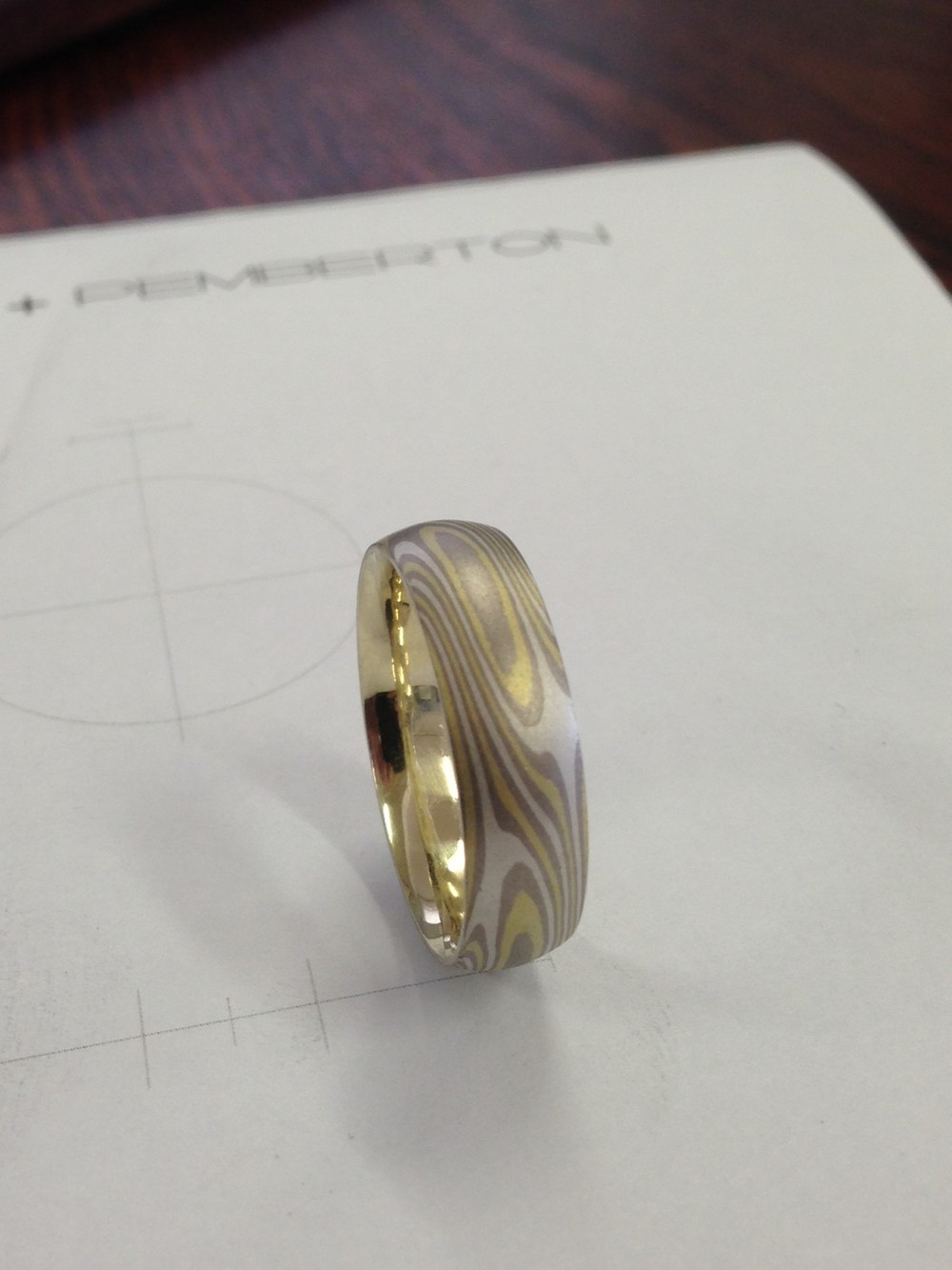 Just finished Green Gold, White Gold, Silver Mokume Gane ring