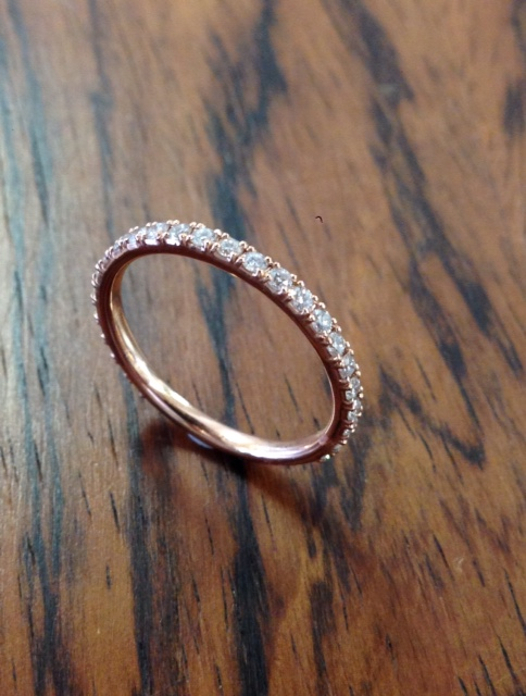 18ct Rose Gold Micro Pave Round brilliant cut diamond band