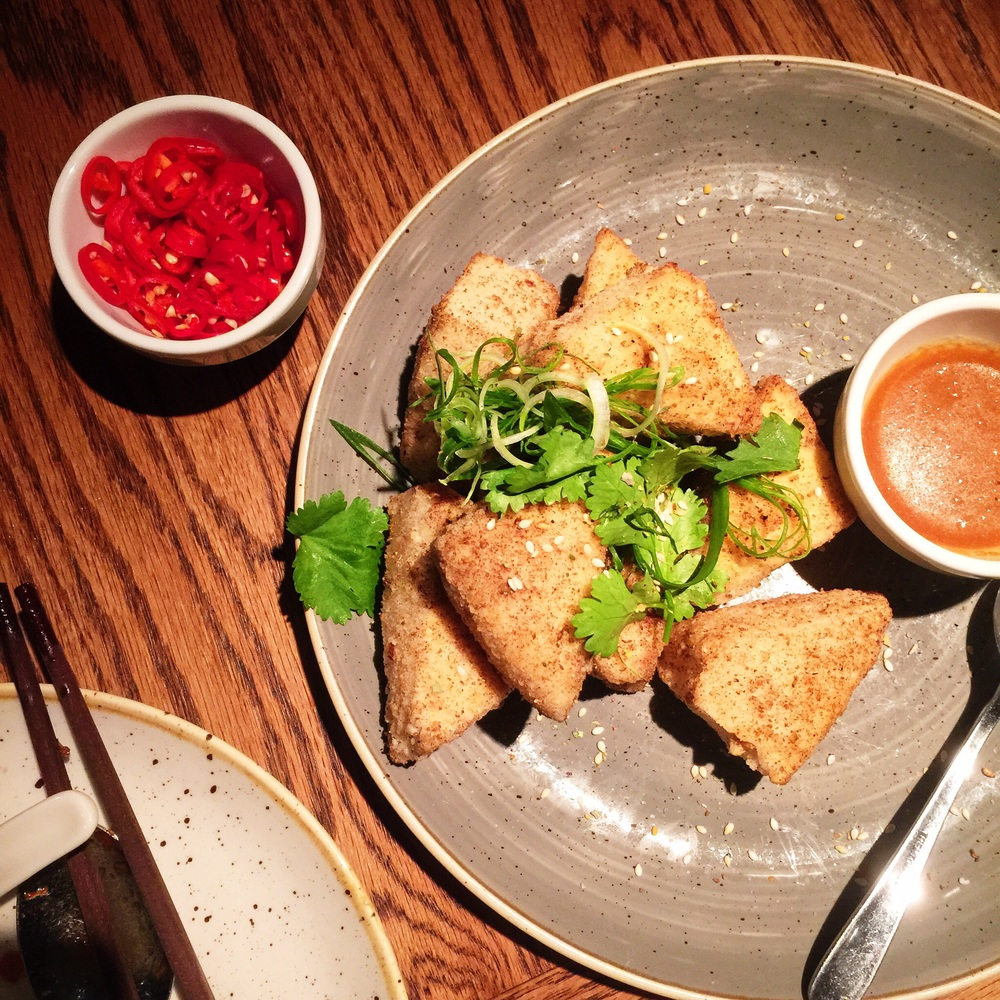 """Crispy tofu with salt and wild fire dukkah"""