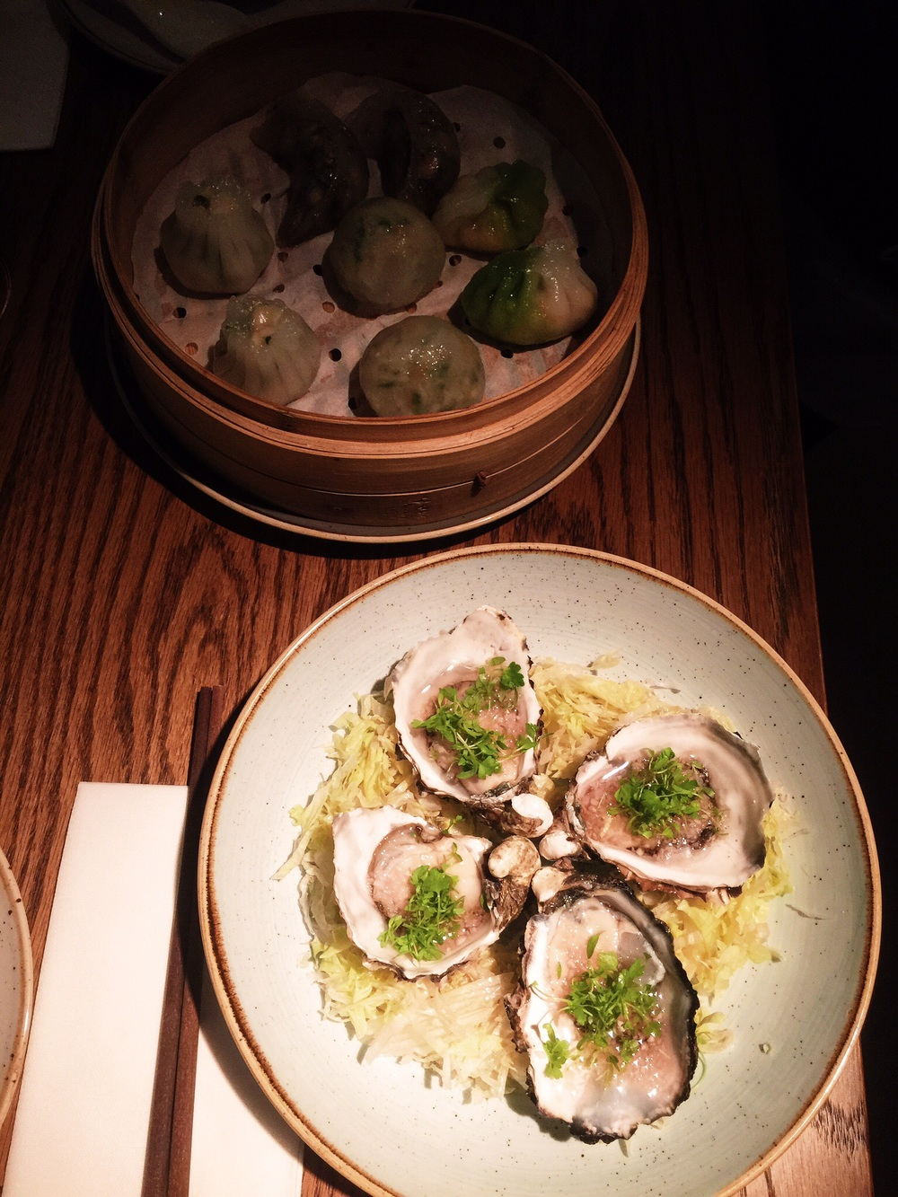 Oysters with eschallots, celery cress and rice wine vinegar