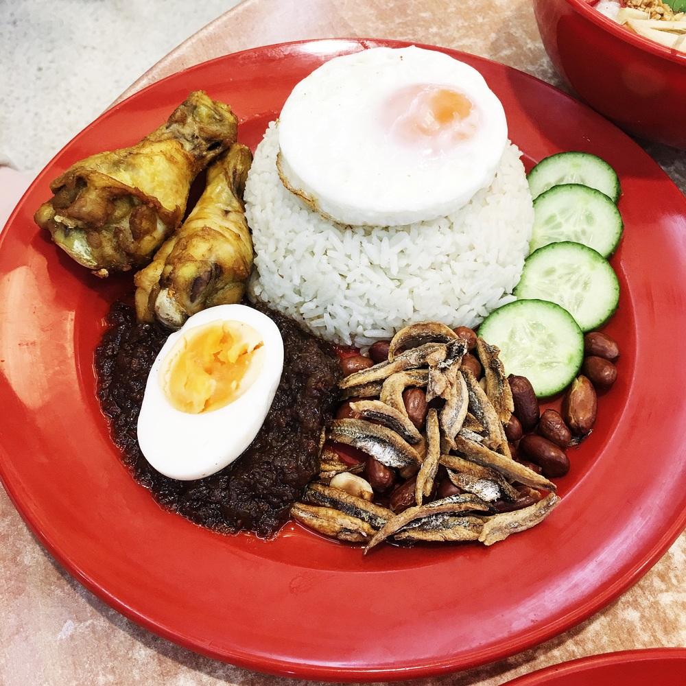 Nasi Lemak - So simple! But so flavoursome. I really enjoyed the sweet chill paste!  A little tip eating this dish: Don't eat this dish separate, strip the chicken off the bones mix it well!
