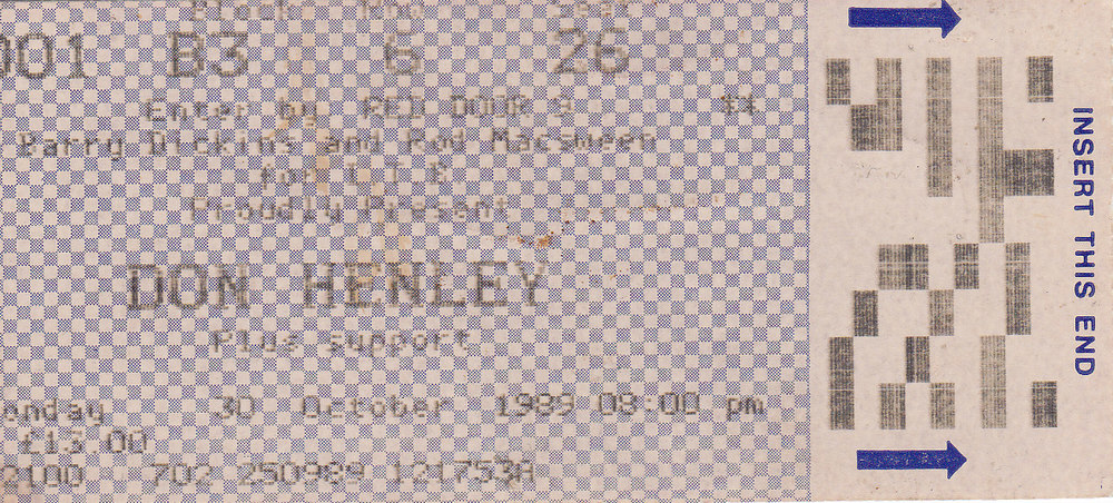 "Our ticket to our first Don Henley concert. We really want Don to sign this some day, but it just hasn't worked out.  BTW..the support was ""The River City People"""