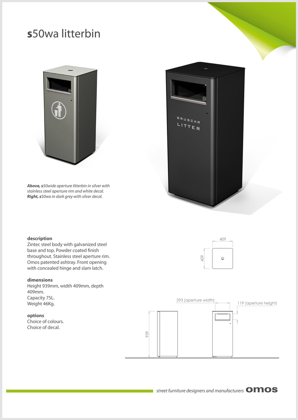 s50wa litter bin data sheet