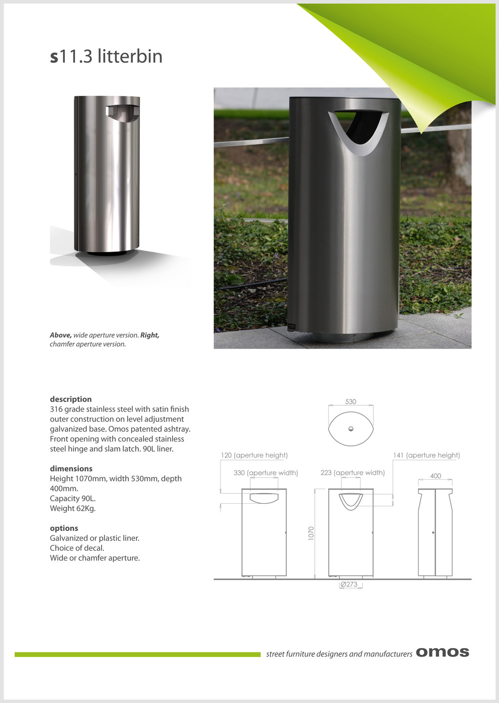 s11.3 litter bin data sheet
