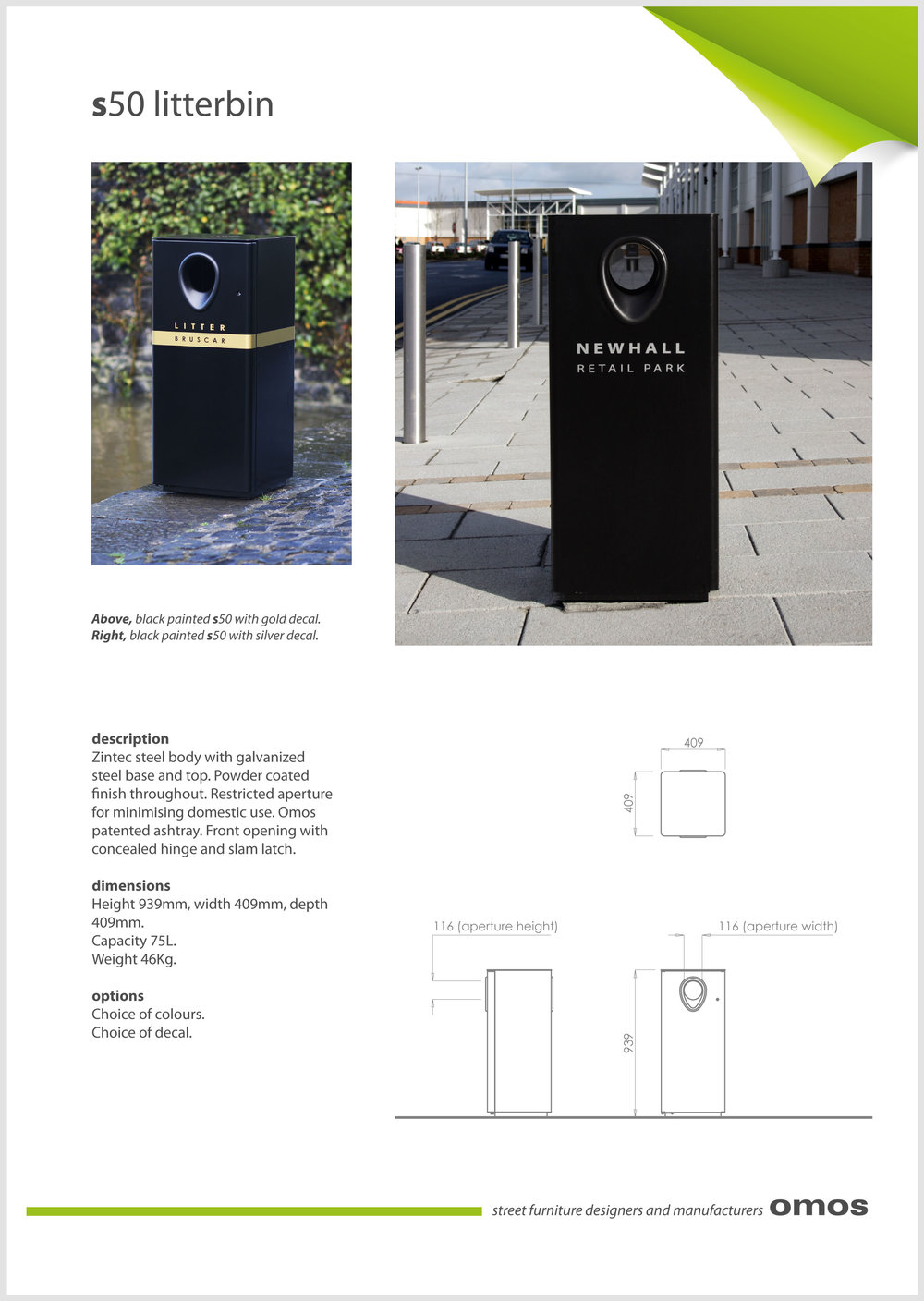s50 litter bin data sheet