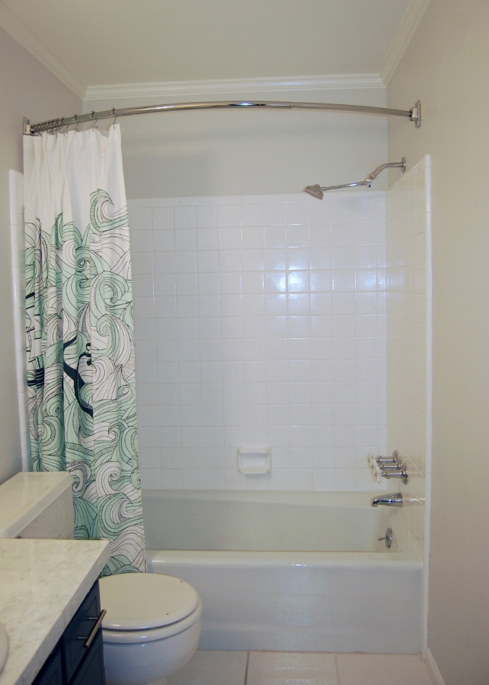 The Shower Curtain Length 1in Hook Drop 14in Exterior Height 135in Maximum Overlap For My Tub 725in 192 Cm