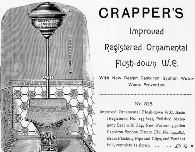 Thomas Crapper did not invent the flush toilet, but he did popularize it.  His toilet design is the classic that is often seen in old movies and cartoons.