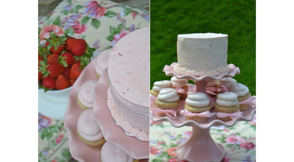 Bake Sale Strawberry Cupcakes Strawberry Cake Pink Ruffled Cake Pedestal.jpg