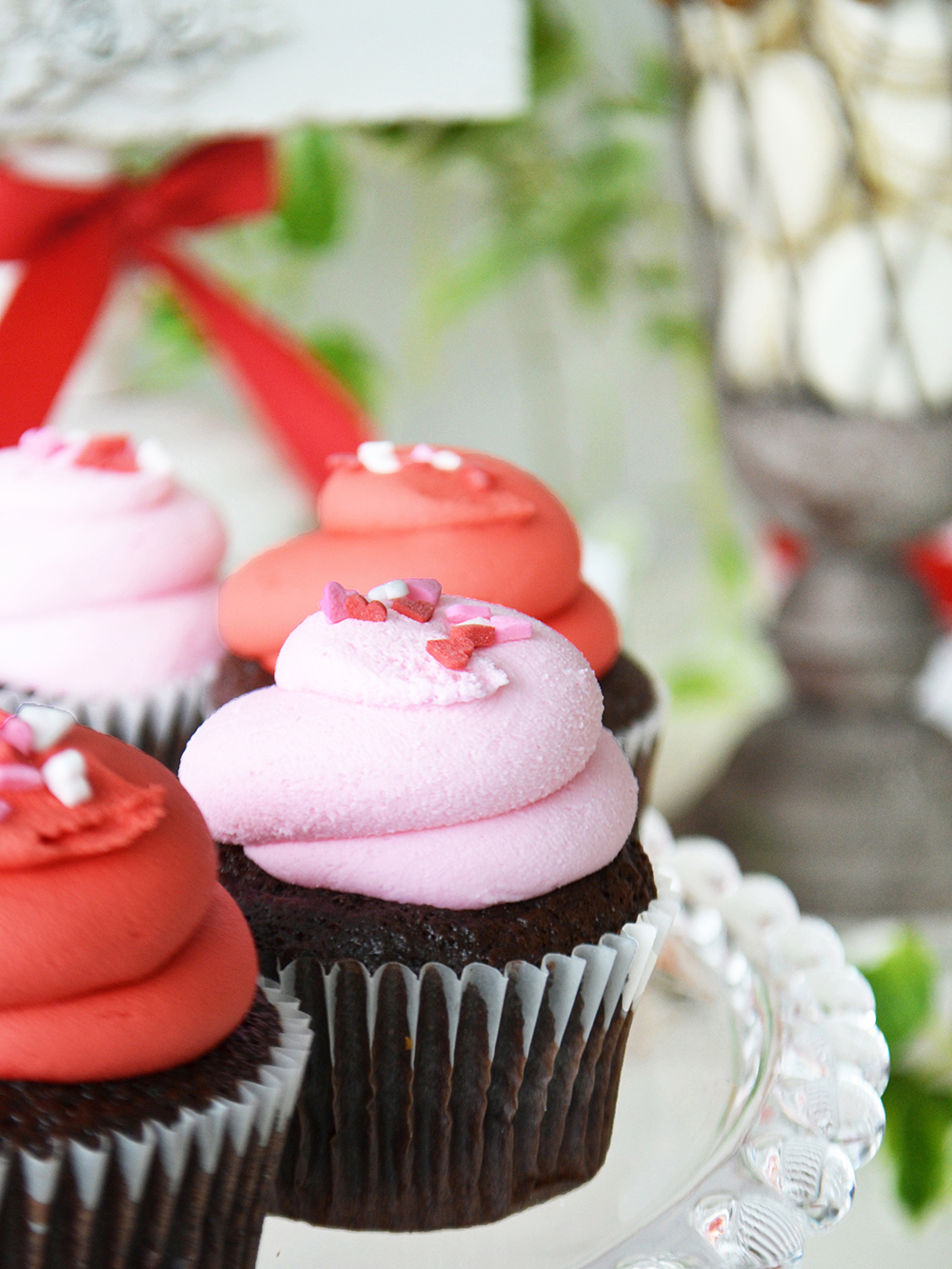 Valentine Cupcake with Heart Sprinkles - Lg $3.40, Mini $2.00
