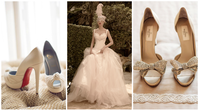 Shoes: Christian Louboutin. Dress: St. Pucchi 9457 Shoes: Valentino via Colin Cowie Weddings