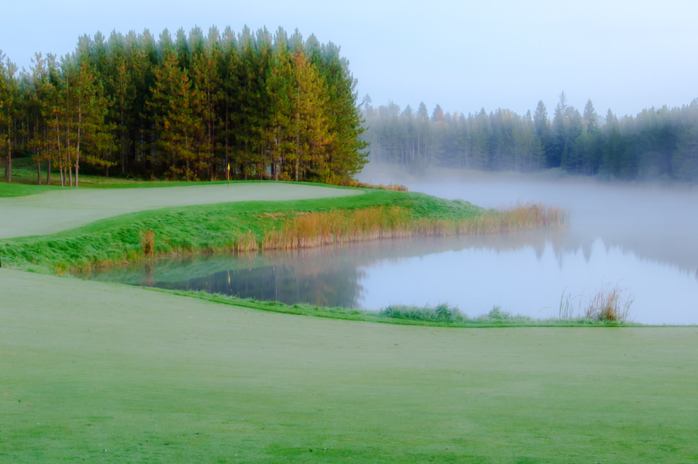 Morning mist wrapping around the Hoot #13 green