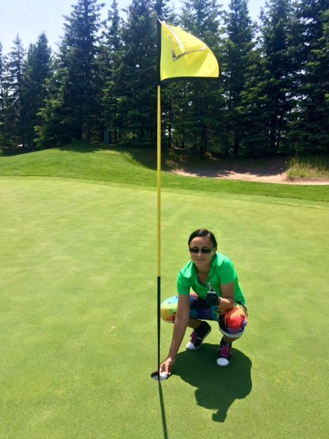 Ewe Jaworowicz following her hole in one on Hoot #15 - June 10th, 2015