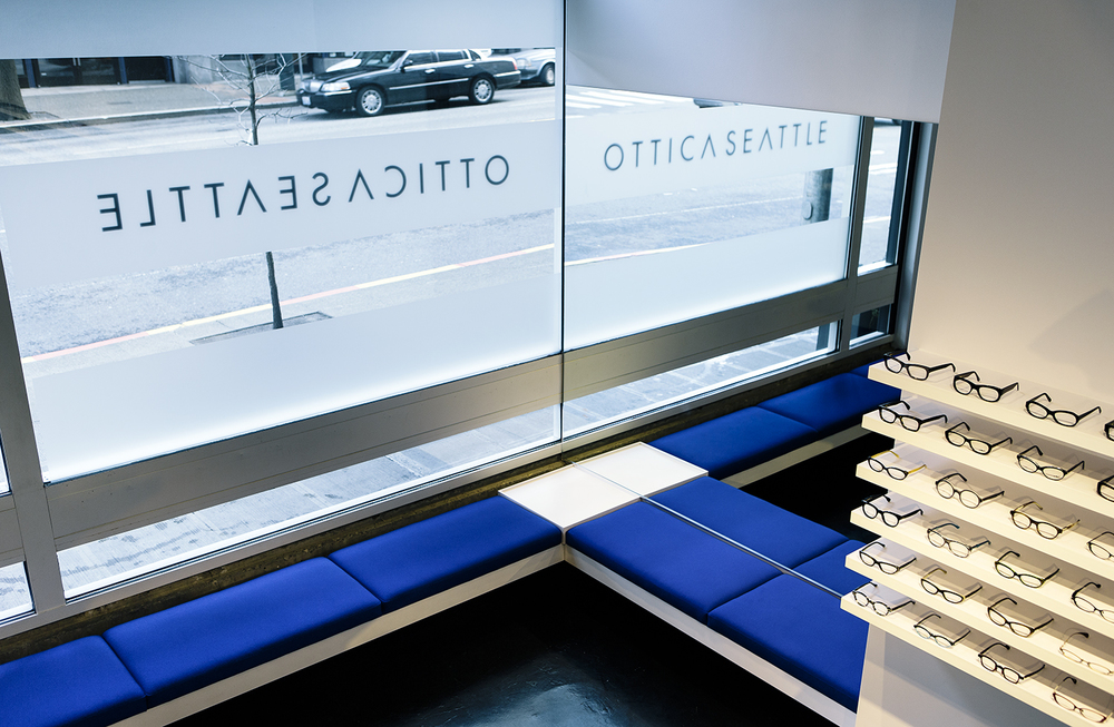 Ottica Seattle optical frame showroom waiting area