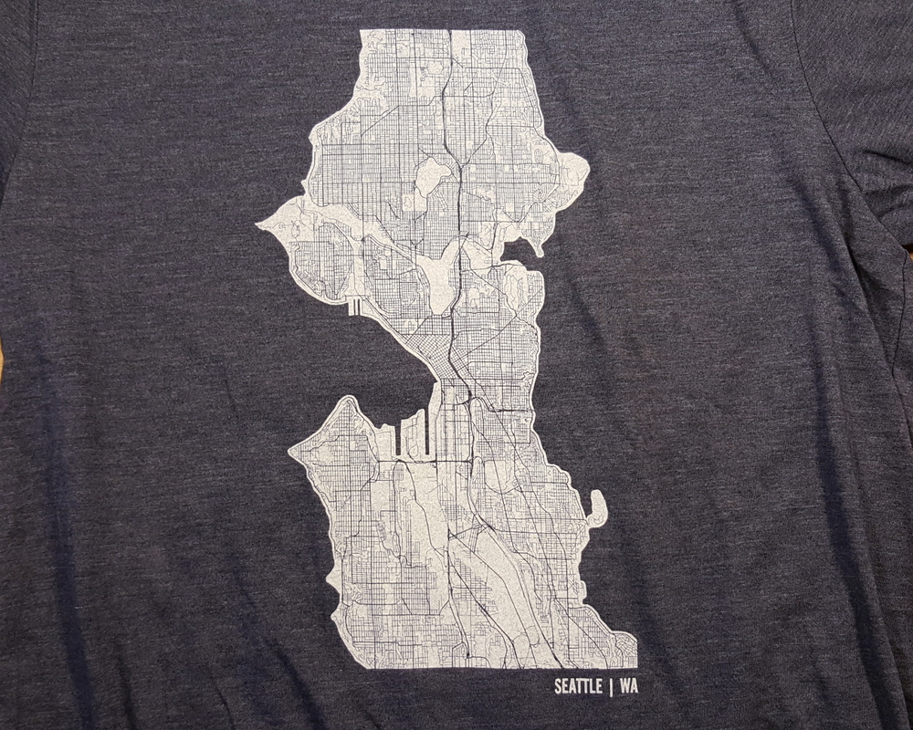 Seattle Map Art Shirt Mr City Printing