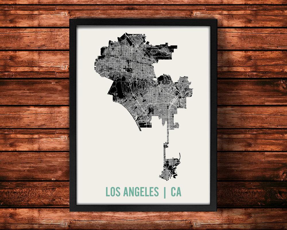Los Angeles Map Art Print \u2014 Mr City Printing: Los Angeles Map Print At Infoasik.co
