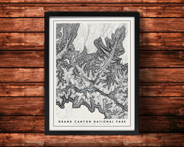 Grand Canyon Topographic Print Mr City Printing