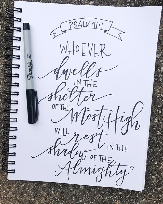 Starting #letterforthelord with @krystalwhitten today! The wording of this verse is so powerful. Thankful God loves and protects his people. . . . . . #lettering #handletterer #handlettering #psalms #psalm #psalm91 #letterforthelord #sharpie #modernscript #moderncalligraphy #entrepreneur #artistsoninstagram #girlboss #calledtocreate #calledtobecreative #conspirecreative #communityovercompetition #risingtidesociety