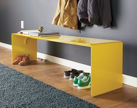 Cooper Bench (aluminum) from Room and Board. I sort of like this yellow, but I'd also do red - maybe orange if it was more on the vermillion side.