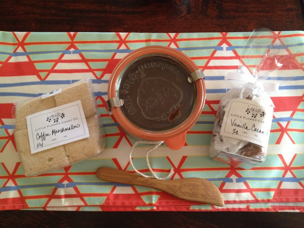 I also bought some fresh Coffee Marshmallows and Vanilla Caramels from  Little Flower Candy Company .