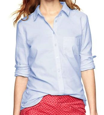A button down long sleeved shirt, light blue or white.  This one's from  The Gap .