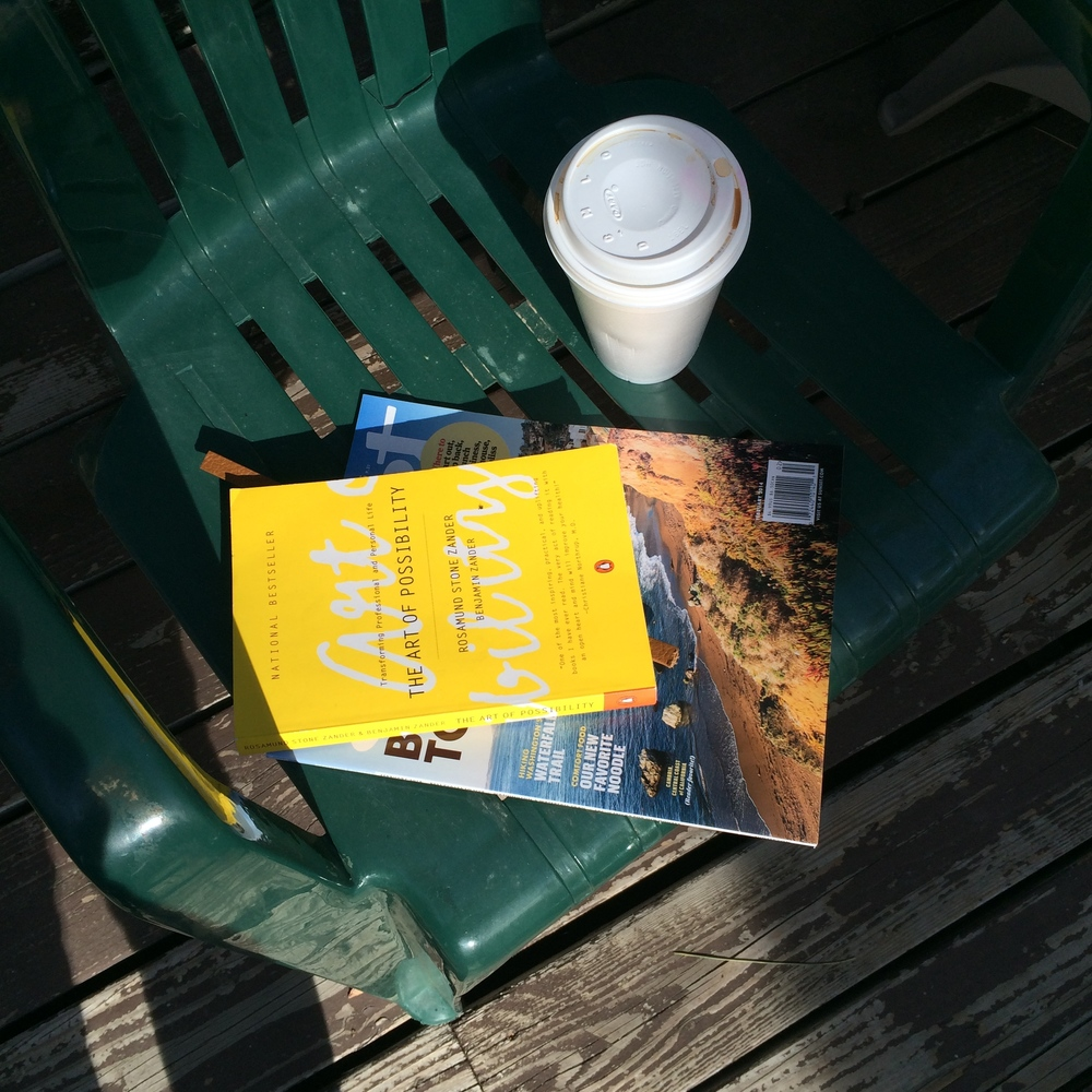 Fond memory: sitting in the sun, reading and drinking coffee at the Lake Arrowhead deck.