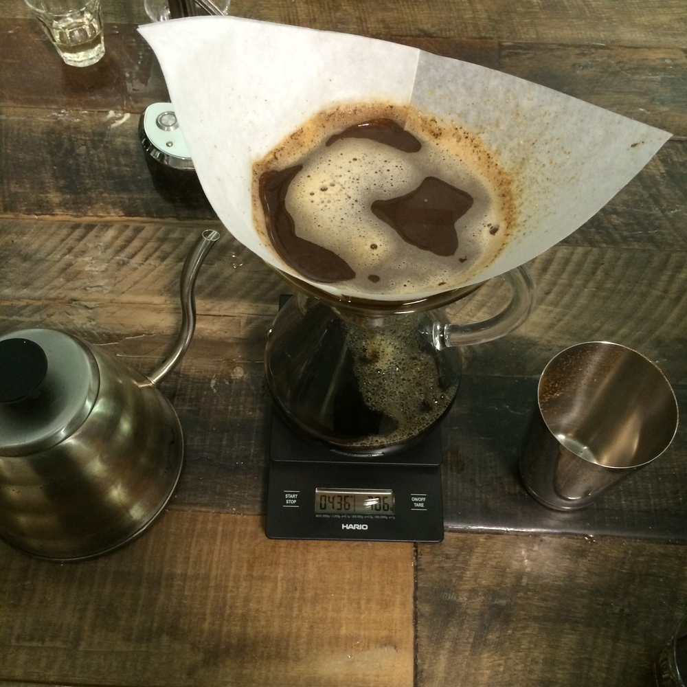 My first pour-over coffee involving a scale (I don't have one at home).