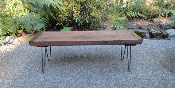 Industrial bench with hairpin legs. from Mt. Hood Woodworks on ETSY.