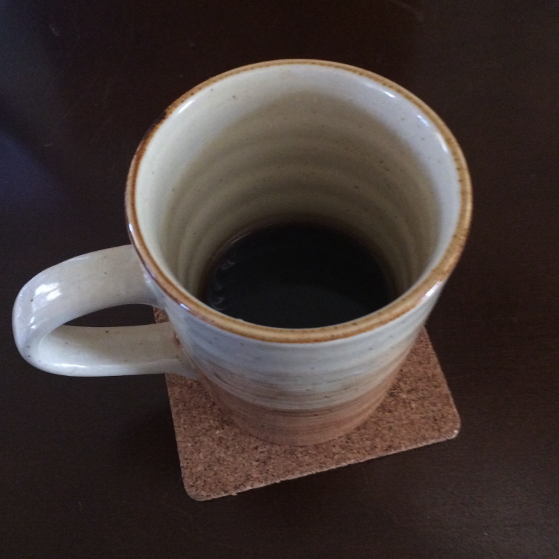 A cold cup of coffee. I brewed this with a Chemex a few hours earlier. The teensy marbling you see there? That's from the spoonful of coconut oil I stirred into my coffee. Have you tried that? Apparently it makes coffee tres healthy. No detectable coconut flavor, but I find I don't need to add cream.