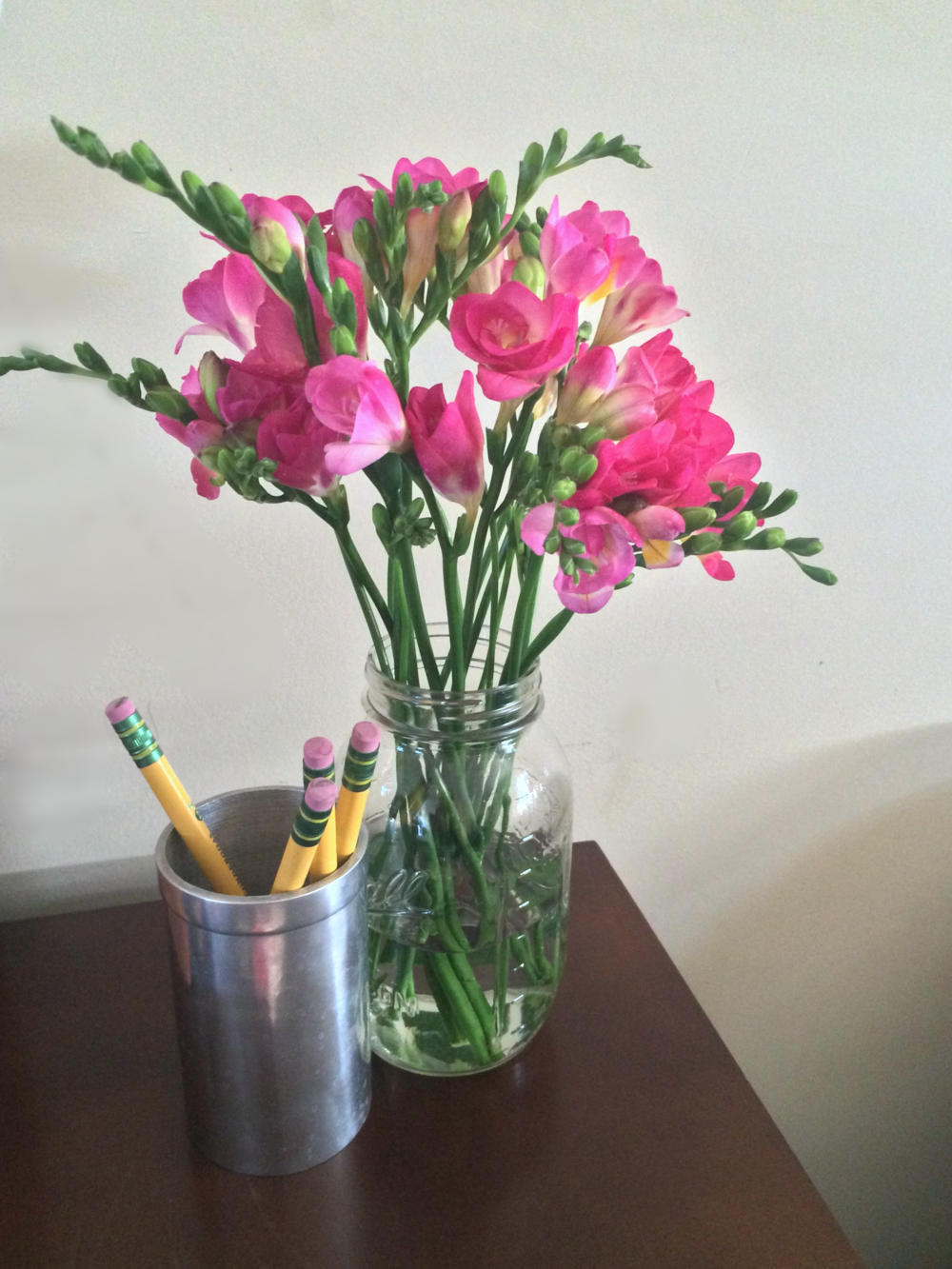 "Love peonies! But sometimes they feel so fancy.  Smaller flowers are just as pretty.  Oh and let's not forget about No.2 pencils.  Come on - pencils symbolize DREAMS!  These particular ones are ""My First Pencils"" from Ticonderoga.  Totally not sensible - they're bigger for kid hands. I think they're funny.  Fact: one day I'll personalize my own pencils and give them to people as a calling card.  It'll be my thing."